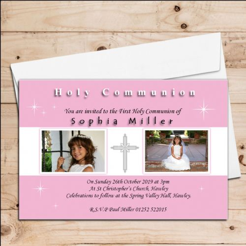 10 Personalised Girls 1st First Holy Communion PHOTO Invitations N19